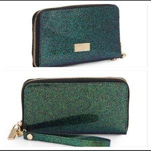 Deux Lux Glossy Green Glitter Zip Around Wallet